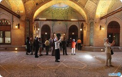 People visit Sa'd-al Saltaneh caravanserai in an undated photo