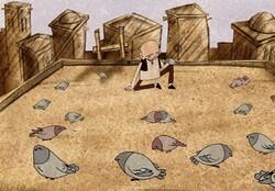 "A scene from director Sadeq Javadi's animated film ""Bald Pigeon Fancier""."