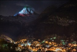 Iran's flag on Swiss iconic mountain shows sympathy in battling coronavirus