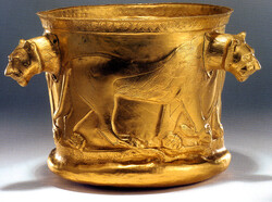 File photo depicts Achaemenid golden bowl with lioness imagery