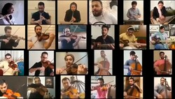 """Members of Iran's National Orchestra perform Hossein Dehlavi's """"Sabokbal"""" in an online project."""