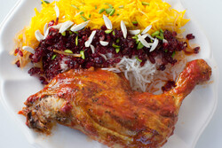 Persian dishes: Zereshk Polo (Barberry rice with saffron chicken)