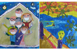 Two winning works in the children's painting competition of Golestan Gallery on coronavirus.