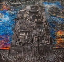 Paintings by Elahyar Najafi are currently on view in an exhibition at Aran Gallery.