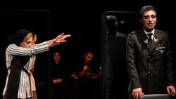 "Members of the troupe Seganeg perform ""Women's Auschwitz"" at Tehran's Shahrzad Theater on November 9, 2019. (Reza Javidi)"