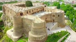 An aerial view of Falak-ol-Aflak fortress in Khorramabad, the capital of Lorestan province, western Iran.