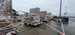 A consignment of vital UNHCR medical supplies leaves Frankfurt for Tehran, Iran, thanks to EU's Humanitarian Air Bridge. Photo: Kuehne + Nagel International AG