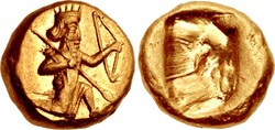 File photo depicts daric coin of the Achaemenid Empire (Darius I to Xerxes II)