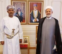 Omani Minister of Commerce and Industry Ali bin Masoud al-Sunaidi, Iran's Ambassador to Muscat Mohammad Reza Nouri Shahroudi.