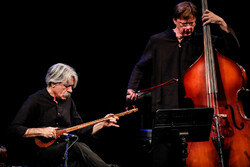 "Kayhan Kalhor (L) performs during his concert tour ""Silence City"" with the string quartet Miniator at Tehran's Vahdat Hall on April 15, 2019. (Mehr/Majid Haqdoost)"