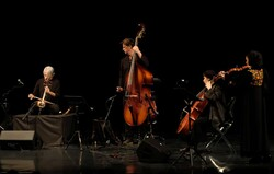 "Kayhan Kalhor (L) performs during his concert tour ""Silence City"" with the Miniator string quartet at Tehran's Vahdat Hall on April 15, 2019. (IRNA/Marzieh Musavi)"