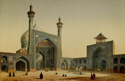 A painting by French architect Pascal Coste, who visited Isfahan in c. 1840, depicts the main courtyard and two iwans of the Imam Mosque (then the Shah Mosque) in the central Iranian city.