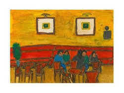 "* Yazdan Saadi is hanging his latest painting collection named ""Nederi Café"" in an exhibition at Seyhun Gallery."