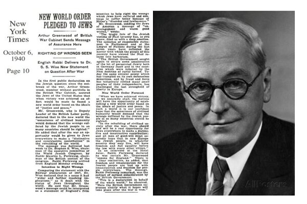 """New world order pledged to Jews"" 80 years ago"