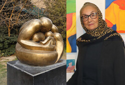 "This combination photo shows sculptor Nahid Saliani and her sculpture ""Mother and Son"" in the courtyard of the Iranian Artists Forum in Tehran."