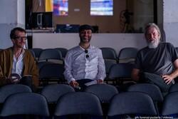 Jury members Adam Jasper (L) and Majid Movasseghi (C), and Videoex president Partick Huber pose in an undated photo. (Videoex/Lorenzo Pusterla)