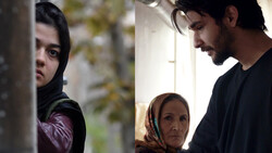 "A combination photo show scenes from the Iranian movies ""Exam"" (L) and ""Talker""."