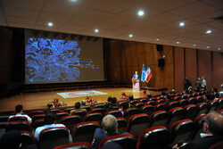 """Hussein al-Ajami, an advisor at the Lebanese Ministry of Culture, speaks during a meeting held at Tehran's Radaki Hall on September 22, 2020 to introduce the music video """"Restless for Balqis"""". (Honaro"""