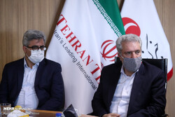 Cultural Heritage, Tourism and Handicrafts Minister Ali-Asghar Mounesan (R) and his deputy for tourism Vali Teymouri are seen during their visits to the Tehran Times in downtown Tehran, October 3, 2020.