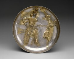 Plate: the Sassanid king Yazdgard I, slaying a stag
