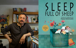 "A combination photo shows Iranian illustrator Pejman Rahimizadeh and his book ""Sleep Full of Sheep""."