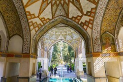 A centuries-old pavilion at the UNESCO-recognized Fin Garden, Kashan, central Iran