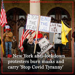 """New York anti-lockdown protesters burn masks and carry """"Stop Covid Tyranny"""""""