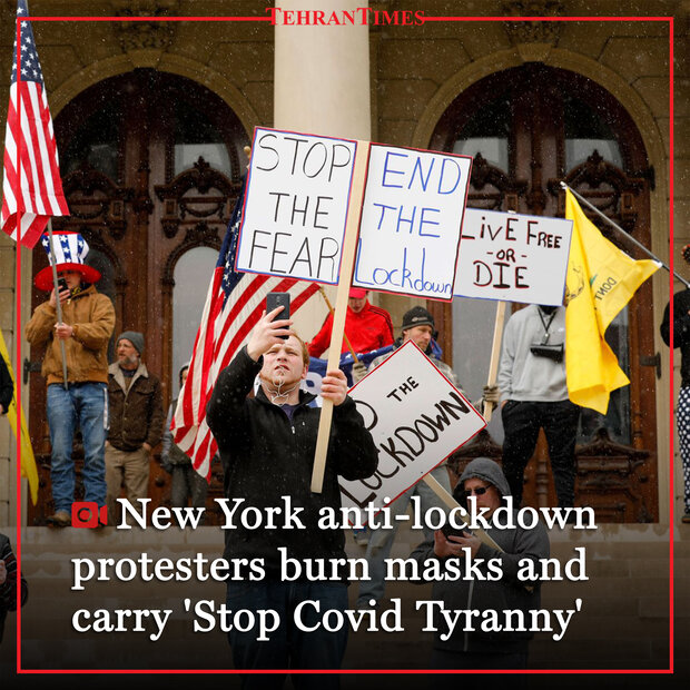 "New York anti-lockdown protesters burn masks and carry ""Stop Covid Tyranny"""