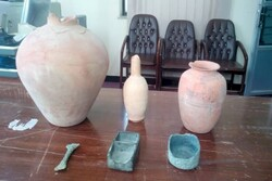 Historical relics recovered from smugglers in Kerman