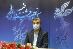 President of the Fajr Film Festival, Mohammad-Mehdi Tabatabainejad, attends a press conference in Tehran on December 5, 2020 to brief the media about the 39th edition of Iran's major film event.