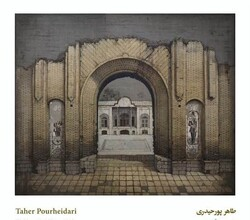 * Taher Purheidari is hanging his latest collection of paintings portraying a number of Iranian historical sites and buildings in an exhibition at Homa Gallery.