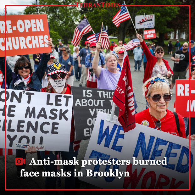 Anti-mask protesters burned masks in Brooklyn
