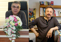 This combination photo shows Iranian illustrator Pejman Rahimizadeh and author Jamshid Khanian.