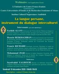 "A poster for the webinar ""Persian Language, Instrument of Intercultural Dialogue""."