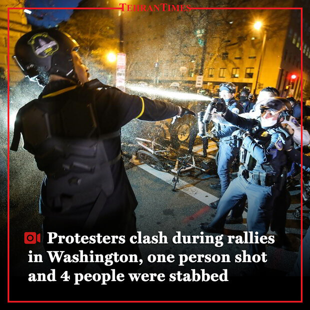 Protesters clash during rallies in Washington