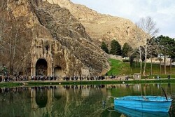 A view of Taq-e Bostan; a significant archaeological site in Kermanshah, western Iran