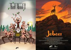 "Posters for Iranian animations ""Think about It"" and ""Jebeer""."