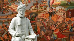 This combination photo shows a statue of Ferdowsi and a teahouse painting depicting a story from his Shahnameh.