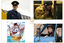 A combination photo show scenes of four films from the Owj Arts and Media Organization competing in the 39th Fajr Film Festival.