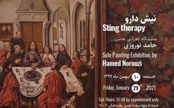 """* Shirin Gallery 1 is playing host to an exhibition painting by Hamed Noruzi entitled """"Sting Therapy""""."""