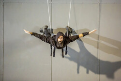"Yasser Khaseb rehearses for ""Sky Wall"" in an undated photo."