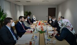 Iranian cultural delegation (R) holds a meeting with Turkish Presidency's Deputy Director of Communication Çagatay Özdemir in Ankara on January 28, 2021. (Directorate of Communication)