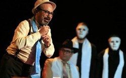 "Iranian director Reza Purtorab's troupe performs ""Epidemic"" at the Fakhreddin Asad Gorgani Hall in Gorgan on December 24, 2018. (Theater.ir)"