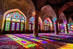 A view of the touristic Nasir ol-Molk Mosque in downtown Shiraz