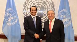 UN Secretary-General Antonio Guterres and Qatari Foreign Minister Sheikh Mohammed bin Abdulrahman Al Than