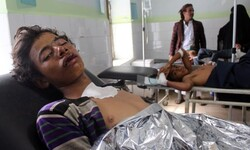 Patients are treated at a hospital in Hajja in Yemen after an airstrike hit a wedding party. Photograph: Reuters
