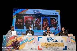 Organizers attend a press conference at the Art Bureau in Tehran on April 5, 2021, to announced the final nominees of the Islamic Revolution Artist of the Year. (Mehr/Mohammadreza Abbasi)