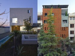 This combination photo shows views of the projects Pardis Khaneh and Kabootar Khaneh nominated for the ADEX Awards.