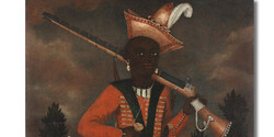 A rare Safavid oil painting of an African soldier.