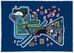 """Nightingale with Lock"", a screen print on paper, by Parviz Tanavoli."